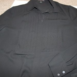 Black Button Down Pleated Long Sleeve Blouse size6